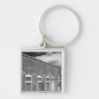 Territorial style architecture, Santa Fe, New Silver-Colored Square Key Ring