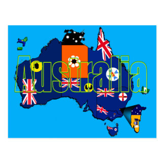Territories and States Flags Map of Australia Postcard