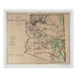 Territory Of Arizona Map 1876 Poster