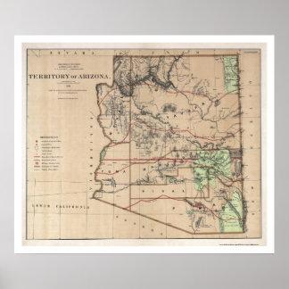 Territory Of Arizona Map 1876 Poster
