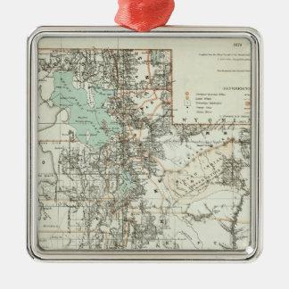 Territory of Utah 2 Silver-Colored Square Decoration