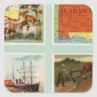 Territory of Wyoming, Alabama, Louisiana, Kansas Square Sticker