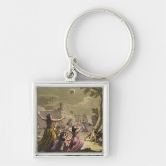 Terror of the Peruvians during an eclipse of the m Silver-Colored Square Key Ring