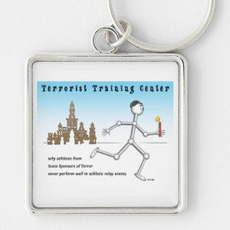 Terrorist Training Center Silver-Colored Square Key Ring