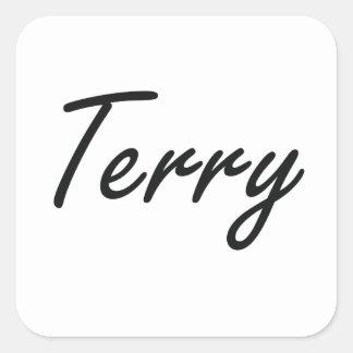 Terry Artistic Name Design Square Sticker