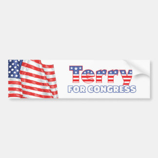Terry for Congress Patriotic American Flag Bumper Sticker