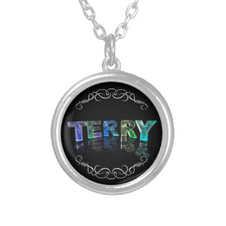 Terry  - The Name Terry in 3D Lights (Photograph) Silver Plated Necklace