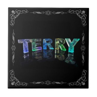 Terry - The Name Terry in 3D Lights (Photograph) Ceramic Tile