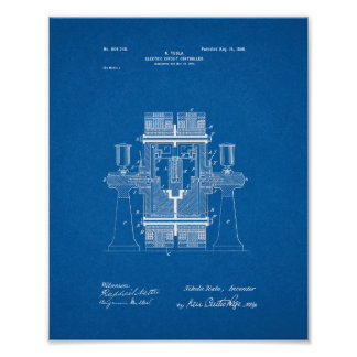 Tesla Electric Circuit Controller Patent - Bluepri Poster