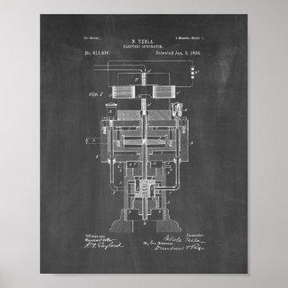 Tesla Electric Generator Patent - Chalkboard Poster