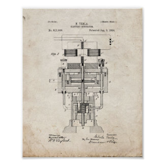 Tesla Electric Generator Patent - Old Look Poster