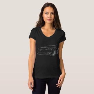 Tesla Model 3,Silver. on Black V-Neck T-Shirt