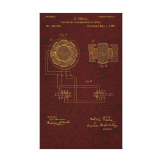 Tesla Patent 00382280 Sht 4 Stretched Canvas Print