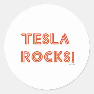 Tesla Rocks! Round Sticker