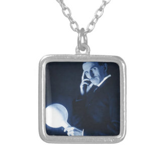 tesla silver plated necklace