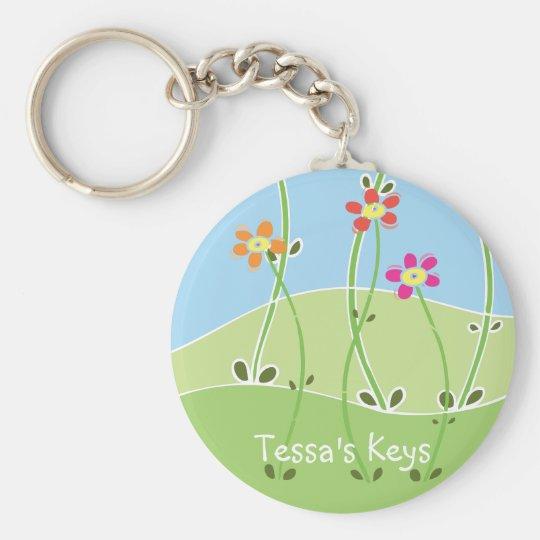 Tessa's Keys Spring Design Basic Round Button Key Ring