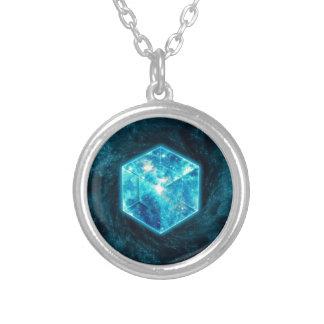 Tesseract, 4D Hypercube, hypercube Round Pendant Necklace