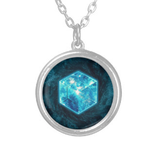 Tesseract, 4D Hypercube, hypercube Silver Plated Necklace