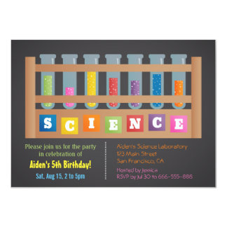 Test Tubes Science Kids Birthday Party Invitations