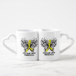 Testicular Cancer Awareness Butterfly Couple Mugs