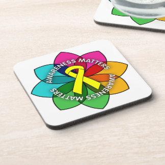 Testicular Cancer Awareness Matters Petals Drink Coasters