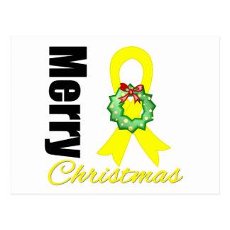 Testicular Cancer Awareness Merry Christmas Ribbon Postcard