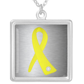 Testicular Cancer Awareness Ribbon Square Pendant Necklace