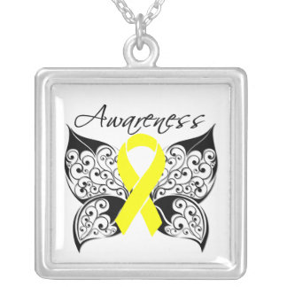 Testicular Cancer Awareness Tattoo Butterfly Square Pendant Necklace
