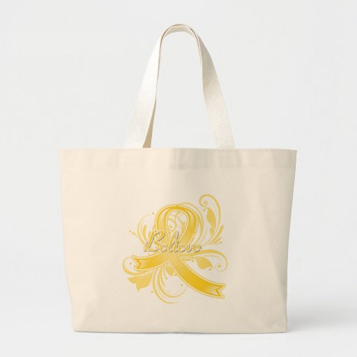 Testicular Cancer Believe Flourish Ribbon Tote Bag