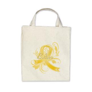 Testicular Cancer Believe Flourish Ribbon Tote Bag