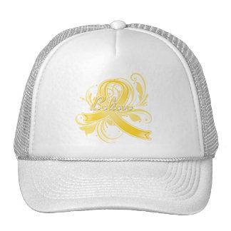Testicular Cancer Believe Flourish Ribbon Mesh Hat