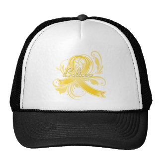 Testicular Cancer Believe Flourish Ribbon Hats