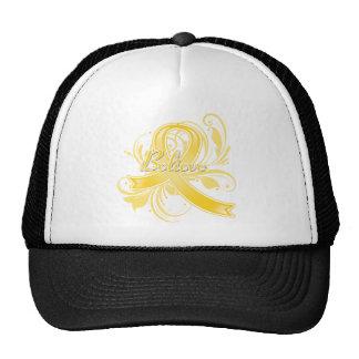 Testicular Cancer Believe Flourish Ribbon Trucker Hats