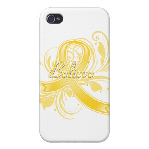 Testicular Cancer Believe Flourish Ribbon iPhone 4/4S Covers