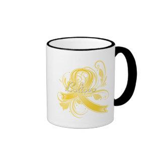 Testicular Cancer Believe Flourish Ribbon Coffee Mug