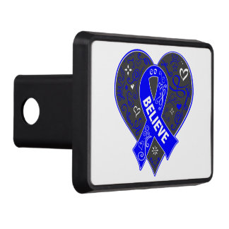 Testicular Cancer Believe Ribbon Heart Tow Hitch Covers