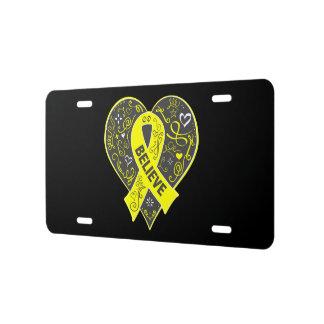 Testicular Cancer Believe Ribbon Heart v2 License Plate