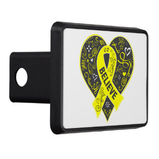 Testicular Cancer Believe Ribbon Heart v2 Tow Hitch Cover
