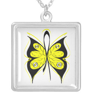 Testicular Cancer Butterfly Awareness Ribbon Square Pendant Necklace