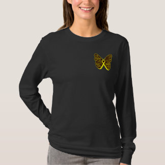 Testicular Cancer Butterfly Collage of Words T-Shirt