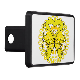 Testicular Cancer Butterfly Heart Ribbon Tow Hitch Covers