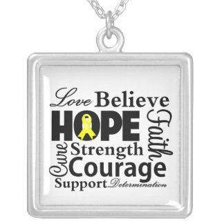 Testicular Cancer Collage of Hope Square Pendant Necklace