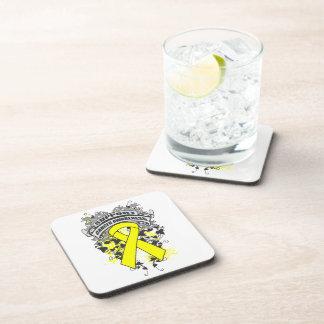 Testicular Cancer - Cool Support Awareness Slogan Beverage Coaster