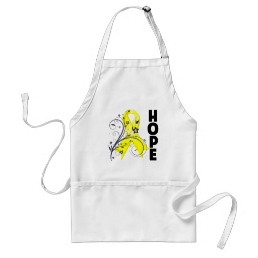 Testicular Cancer Floral Hope Ribbon Aprons