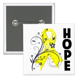 Testicular Cancer Floral Hope Ribbon Button