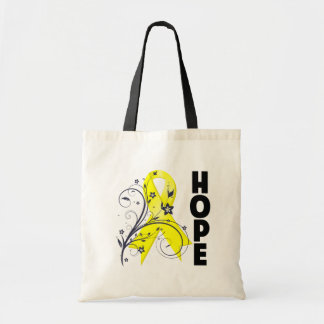 Testicular Cancer Floral Hope Ribbon Canvas Bags