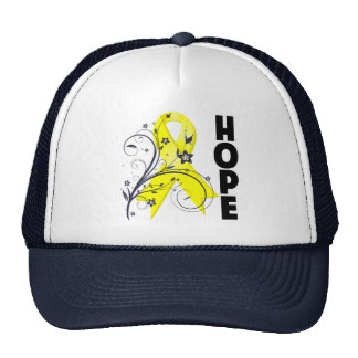 Testicular Cancer Floral Hope Ribbon Hats