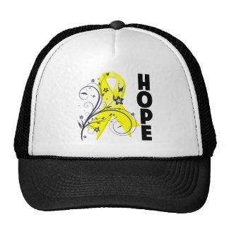Testicular Cancer Floral Hope Ribbon Trucker Hats