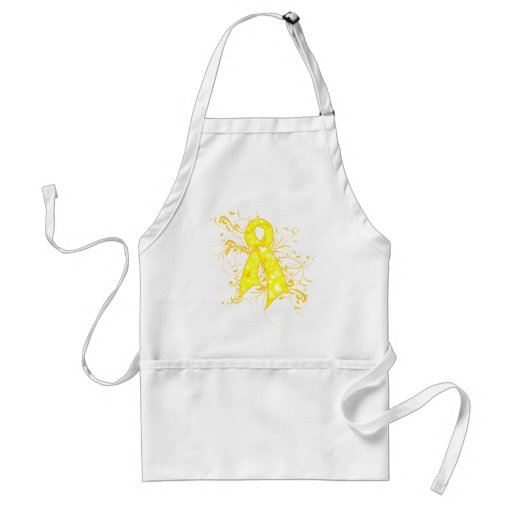 Testicular Cancer Floral Swirls Ribbon Aprons