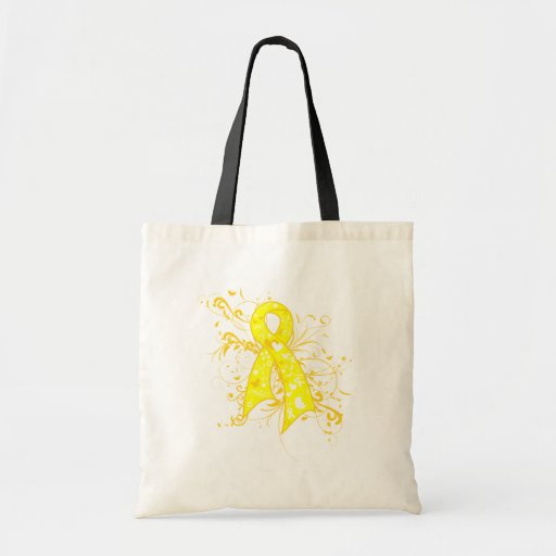 Testicular Cancer Floral Swirls Ribbon Tote Bag
